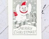 Merry Christmas Monster Hand Printed Card