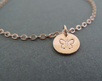 Delicate Rose Gold Bracelet Butterfly Disc Bracelet Hand Stamped Bracelet thin dainty bracelet best friend birthday gifts
