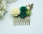 Ivory, Dark Green, Emerald, Moss Green, Ivory, Jade Green, Green Rustic Wedding Comb. Green Flower Comb, Green Wedding, Floral Hair Comb