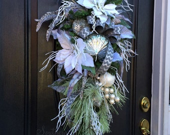 Christmas Teardrop Swag in Silver & White with Snow Flocked White Poinsettias, White Christmas Decor, Teardrop Door Wreath, Wreaths on Sale