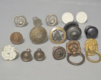 Mixed Lot of 16 Vintage Metal Knobs / Rustic Shabby Chic Drawer Door Pulls French Provincial White Ornate Mid Century Modern Home Brass Lion