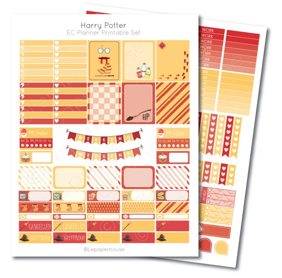 Erin Condren Harry Potter Printable Planner Sticker Set Erin