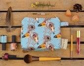 Medium Make Up Bag in Goldfinch Bird & Flower Pattern, illustrated, designed and handmade in Yorkshire, England