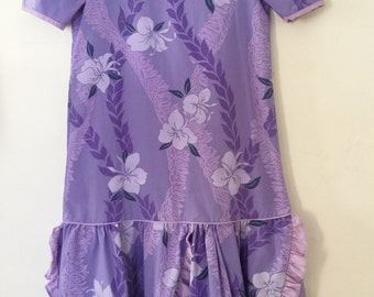 Vintage 80s / Girls / Purple / Lavender / Floral / Hibiscus / Puffed Short Sleeves / Hawaiian Dress / Size 8
