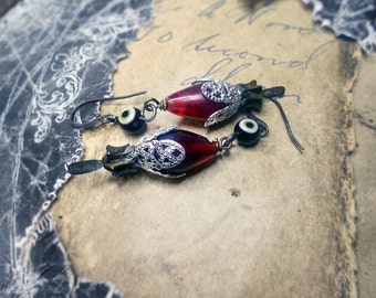 Rustic Beaded Earrings -  Blood Red Drops Under Evil Eye Beads - Fancy Layered Silver Bead Caps - Amulet Assemblage Earrings