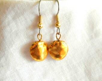 Gold Earrings Coin Earrings Surgical Steel Earrings Drop Earrings Beaded Earrings Simple Earrings
