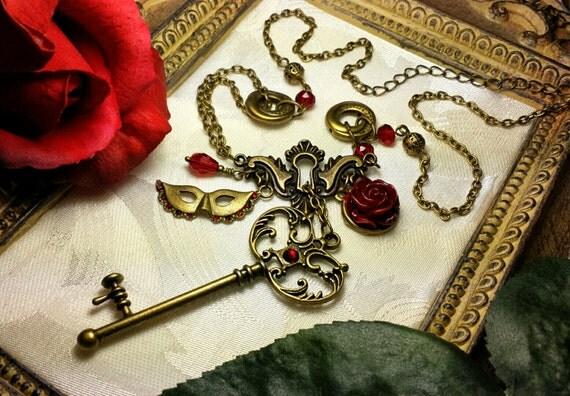 Phantom of the Opera Pendant Blood Red Rose Mask Skeleton Key
