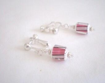 Pink and Black Earrings, Cane Glass Earrings, Adjustable Earrings, Furnace Glass Earrings, Screw-on Earrings, David Christensen Beads