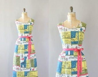 Vintage 50s Dress/ 1950s Cotton Dress/ Zoo Novelty Print Barkcloth Wiggle Cotton Dress L