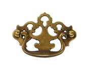 Vintage Brass Drawer Handle with Ornate Backplate