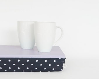 Serving tray with support pillow, lap desk - light grey tray,  navy with white stars print pillow