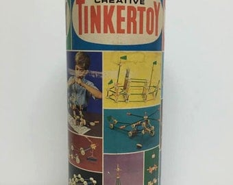 Vintage Tinkertoy ~Original Tinkertoy No. 155 ~ 270 Construction Pieces