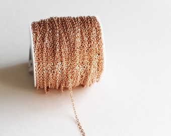 330ft Rose Gold Cable Chain Spool - 3x2mm - 100m - Ships IMMEDIATELY from California - CH599