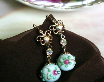 Antique Venetian Art Glass Wedding Cake Bead Italian Lampwork Pierced Dangle Earrings
