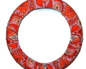 Pink Orange Paisley Steering Wheel Cover-Car Accessories-Cute Car Decor-Gift for Her-Steering Wheel Cover