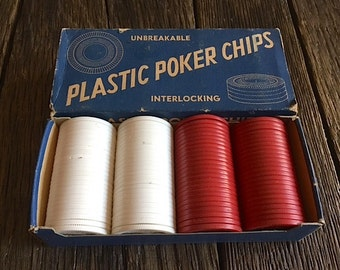 Vintage Poker Chips - Unbreakable Vintage Poker Chips - Plastic set of 100 Poker Chips - Unbreakable Interlocking Red And White Poker Chips