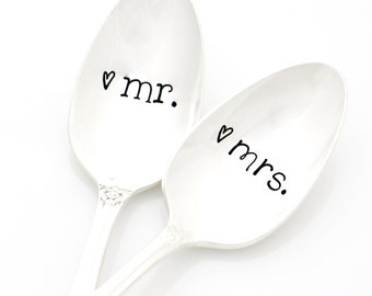 Mr. and Mrs. Spoons. Hand Stamped Silverware in His and Her Fonts. Handstamped Vintage Coffee Spoons for unique engagement gift idea.