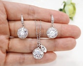 Bridesmaid gift set- Personalized necklace,cubic zirconia earrings, bridesmaid gift, cubic zirconia necklace,wedding jewelry, Bridal Jewelry