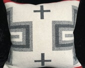 "Modern, Grey, White, Black, Wool pillow, Red invisible zipper 16""x16"""
