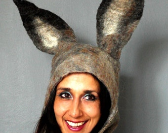 Midsummer Night's Dream Hare Hat with large bendable ears for theatrical pagan fancy-dress headdress