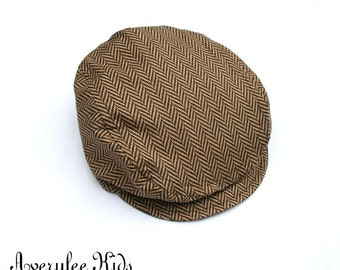 Boys Golden Brown Tweed Newsboy Hat, Newsboy Cap Boys, Toddler to Teen, Brown Herringbone Newsboy Hat, Driving Cap, Boys Golf Hat