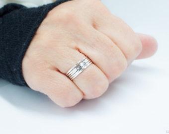 Sterling Silver Stackable Rings - Set of 5 Sterling Silver Stacker Rings - thin 925 silver rings dainty petite skinny