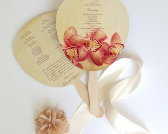 Tropical vintage Wedding fan, program wedding fan, tropical program fan for wedding - Lancaster design