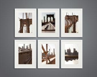 Bathroom Decor Set of 6 Photographs Brooklyn Bridge Bathroom Art Travel New York photography  Shabby Chic Bathroom Art,  NYC city large art