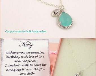 Personalized Mint Green Necklace Silver Dainty Necklace Maid of Honor Gift Turquoise Wedding Gift for Bridesmaids Gift for Her