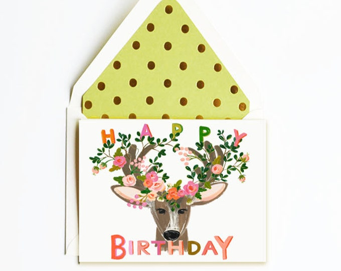 Happy Birthday Deer with whimsical florals