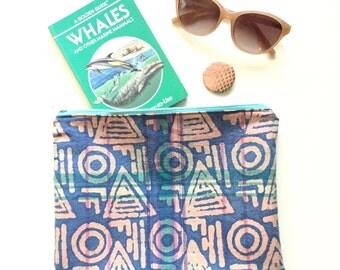 Batik Fold-over Clutch Purse / Vintage Fabric Zipper Pouch / Eco-Friendly Bag / Purse Organizer Insert / Bohemian Travel Bag / Boho Chic