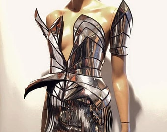 Chrome knight corset robot futuristic cosplay corset , sci fi costume, lady gaga corset , burning man, steampunk, futuristic clothing