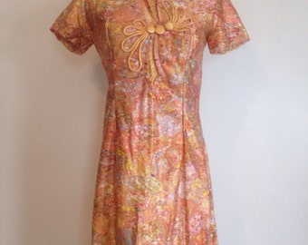 vintage 60's Filipino PSYCHEDELIC SWIRLS mini dress - small