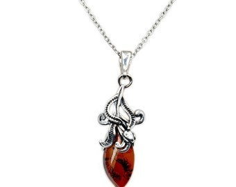 Cognac Amber & .925 Sterling Silver Necklace Pendant AA687 Jewelry