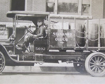Handsome 1910's Standard Oil Company Driver and Truck RPPC Real Photo Postcard - Free Shipping