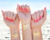 Bachelorette party tattoo | Team Bride tattoo © Set of 12 | Bachelorette tattoos | Gold bachelorette temporary tattoos | Gold flash tattoo
