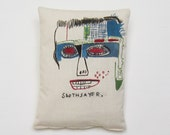 Basquiat pop sculpture unique Valentine's day gift graffiti home decor madeinitaly birthday gift graduation man woman textile art portrait
