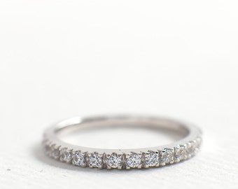 2mm Half Eternity Wedding Band - CZ Sterling Silver Ring - Stacking Ring - Dainty Thin Band - Micro Pave Ring