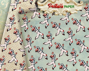 LAUGH CLOWN - 2 SHEETs Printable wrapping paper for Scrapbooking, Creat - Download and Print
