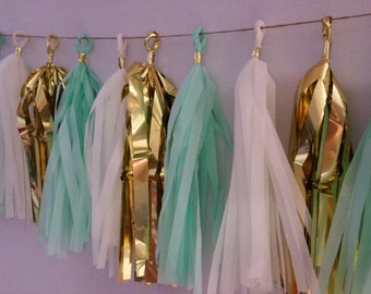 Mint Green Gold White Tissue Paper Tassel Garland, Party Decorations, Tassel Garland, Party Decor, Wedding Decor, Birthday Party, Banner