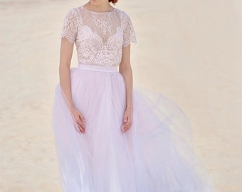 Serenity - ombre wedding dress / girly cute wedding dress / lace and tulle wedding dress / dress with a slit / rose quartz and serenity