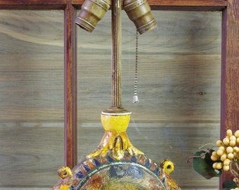 Artist Table Lamp, Handcrafted Folk Art Lamp, Bohemian Style, Boho Lamp, Old Handmade Lamp, Unusual Lamp, Found Objects, Unique Lamp