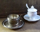 Vintage French Silver Plate Coffee or Tea Cup and Saucer, Silverplate, Demitasse, Espresso, Cafe au Lait, Bistro Cottage Decor