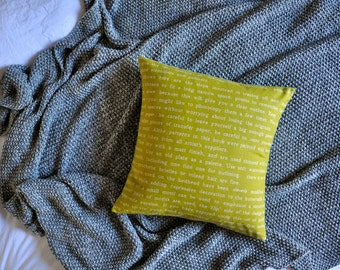 Text Words Cushion Cover, Throw Pillow Cover, Throw Cushion Cover, Decorative Cushion Cover, Decorative Pillow Cover - Mustard Yellow