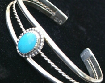 Bracelet, Cuff, Sterling Silver, Ladies Handmade with Turquoise Stone, Cuff Bracelet, Silver