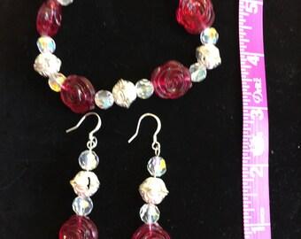 Roses, Roses Bracelet/Earrings Set