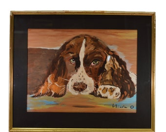 Dog Watercolor Picture - French Gouache Cavalier King Charles Spaniel Painting by Nicole O - French Art Animal
