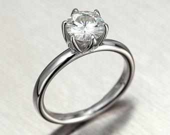 forever one moissanite engagement ring 6mm tulip solitaire ring in solid 14k white gold - Moissanite Wedding Rings