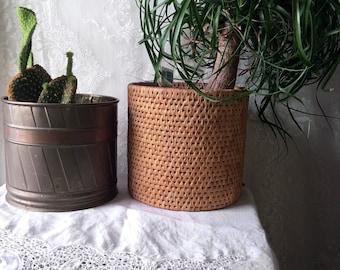 Vintage Mid Century Brass or Basket Planter SALE