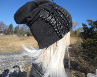 Edgy Bohemian Clothing Slouchy Beanie Black Leather Corset Lace Ties Acid Washed Cotton Knit Hat Musician Rocker A1348
